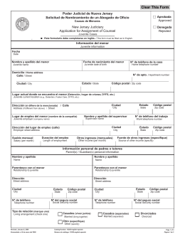 Application for Assignment of Counsel New Jersey Judiciary