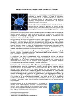 PROGRAMACIÓN NEURO-LINGÜÍSTICA, PNL Y GIMNASIA