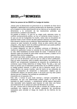 Sobre los presos de los GRAPO en huelga de hambre Jueces para