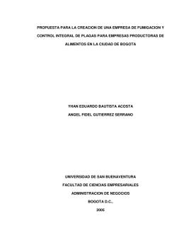 propuesta para la creacion de una empresa de fumigacion y control