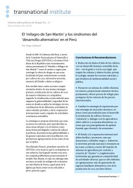 El `milagro de San Martín` y los síndromes del `desarrollo alternativo