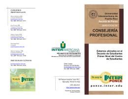 Consejería Profesional - Universidad Interamericana, Recinto de