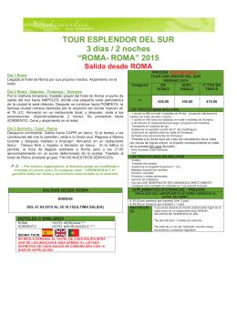 """TOUR ESPLENDOR DEL SUR 3 dias / 2 noches """"ROMA"""