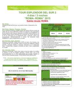 """TOUR ESPLENDOR DEL SUR 2 4 dias / 3 noches """"ROMA"""