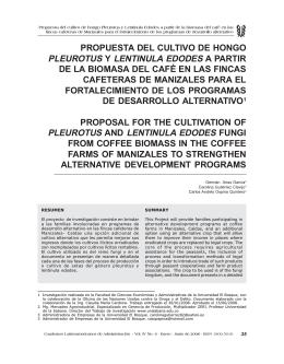 propuesta del cultivo de hongo pleurotus y lentinula edodes a partir
