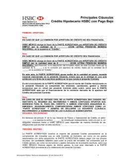 Principales Cláusulas Crédito Hipotecario HSBC con Pago Bajo