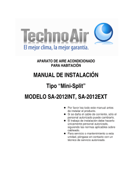 "MANUAL DE INSTALACIÓN Tipo ""Mini-Split"" MODELO"