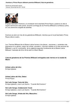 Aventura y Prince Royce obtienen premios Billboard