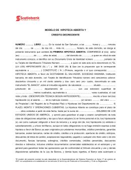 MODELO DE HIPOTECA ABIERTA Y CREDITO