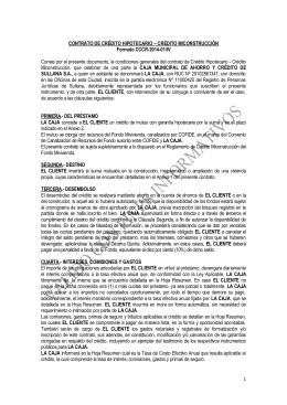 CONTRATO DE CRÉDITO HIPOTECARIO – CRÉDITO