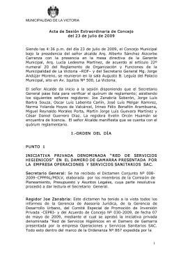 1 Acta de Sesión Extraordinaria de Concejo del 23 de julio de 2009