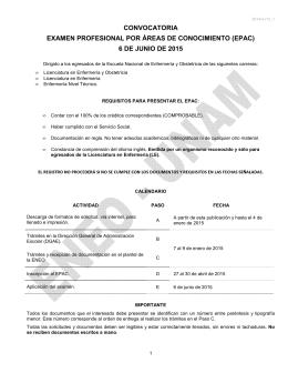 convocatoria examen profesional por áreas de conocimiento (epac)
