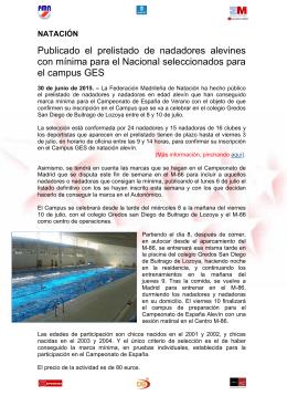Publicado el prelistado de nadadores alevines con mínima para el