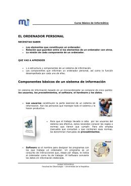 EL ORDENADOR PERSONAL Componentes básicos de un sistema
