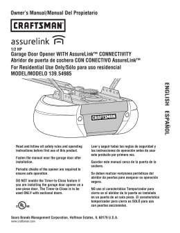 Owner`s Manual, Garage Door Opener, AssureLink