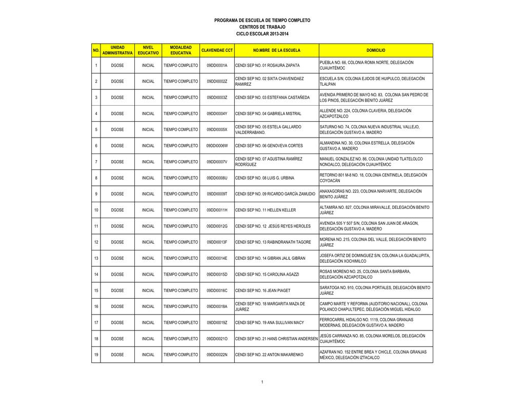 Programa de escuela de tiempo completo for Cct de la escuela