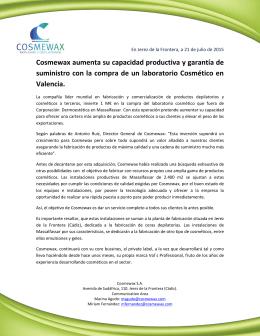 Cosmewax aumenta su capacidad productiva y garantía de