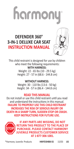 DEFENDER 360° 3-IN-1 DELUXE CAR SEAT INSTRUCTION