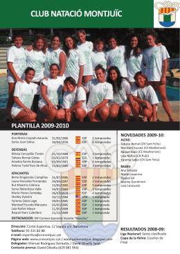 club natació montjuïc plantilla 2009-2010