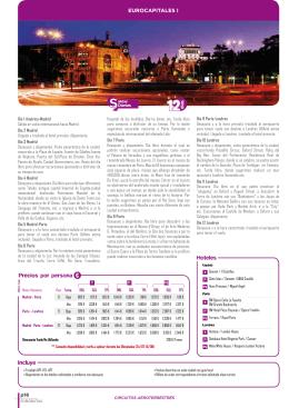 Precios por persona € Hoteles Incluye