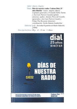 Días de nuestra radio: Cadena Dial, 25 años Binéfar / textos