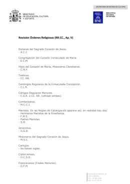 Revisión órdenes religiosas (RR.CC., Ap. V)
