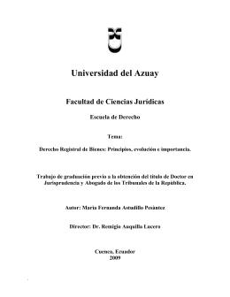 capitulo ii derecho registral - DSpace de la Universidad del Azuay