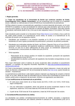 INSTRUCCIONES DE AUTOMATRÍCULA ESTUDIANTES QUE
