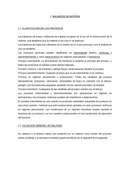 2. BALANCES DE MATERIA 2.1 CLASIFICACIÓN DE LOS