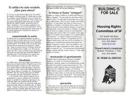 BUILDING IS FOR SALE - Housing Rights Committee of San Francisco