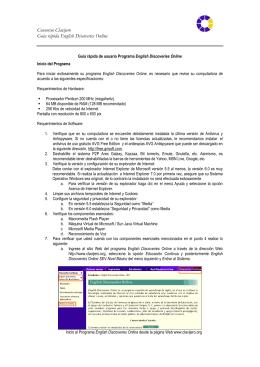 Consorcio Clavijero Guía rápida English Discoveries Online