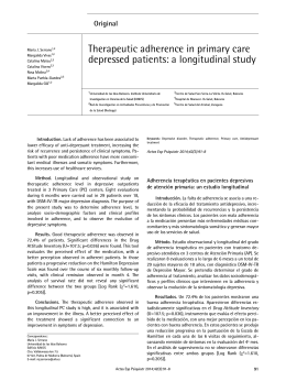 Therapeutic adherence in primary care depressed patients