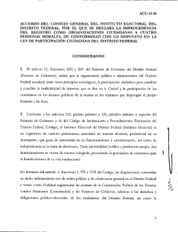 Acuerdo - Instituto Electoral del Distrito Federal