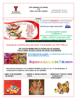 LISTA SEMANAL DE TAREAS. 5º B Sritas. Ana Lilia y Martha
