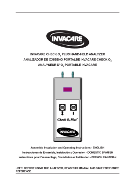 invacare check o plus hand-held analyzer analizador de oxigeno