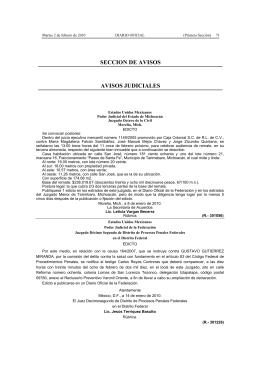 SECCION DE AVISOS AVISOS JUDICIALES - Diario-o