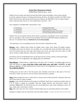 Jessie Rice Elementary School Unified Dress Code for 2014 – 2015
