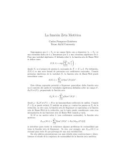 La función Zeta Mot´ıvica