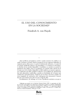 El uso del conocimiento en la sociedad. Hayek, Friedrich August