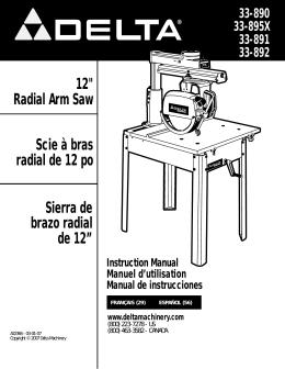 "12"" Radial Arm Saw Scie à bras radial de 12 po Sierra de brazo"