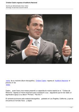 Cristian Castro regresa al Auditorio Nacional