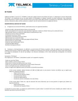 términos y condiciones de Mi Telmex
