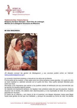 Testimonio Hna. Victoria García Religiosa del Buen Salvador
