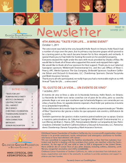 Newsletter ISSUE 10 - Childhood Cancer Foundation of Southern