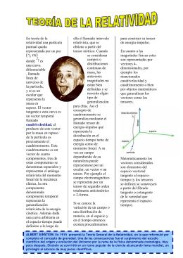 En teoría de la relatividad una partícula puntual queda representada