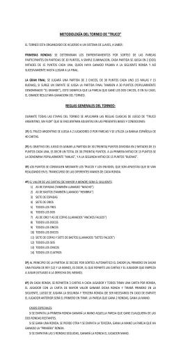 """METODOLOGÍA DEL TORNEO DE """"TRUCO"""" REGLAS"""