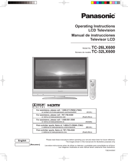 Operating Instructions LCD Television Manual de