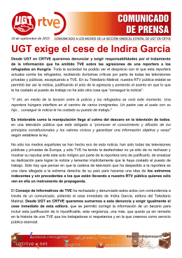 UGT exige el cese de Indira García
