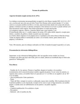 Normas de publicación Aspectos formales (según normas de la APA