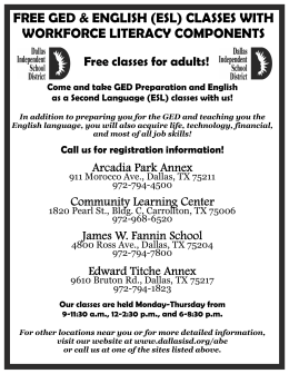 free ged & english (esl) classes with workforce literacy components